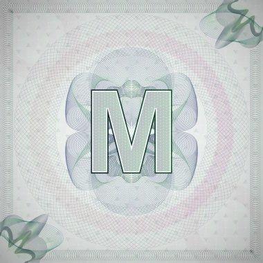 Letter M in guilloche ornate style