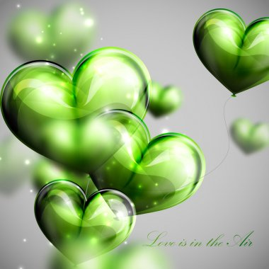 vector holiday illustration of flying bunch of green balloon  hearts. Valentines Day or wedding background. Love is in the Air