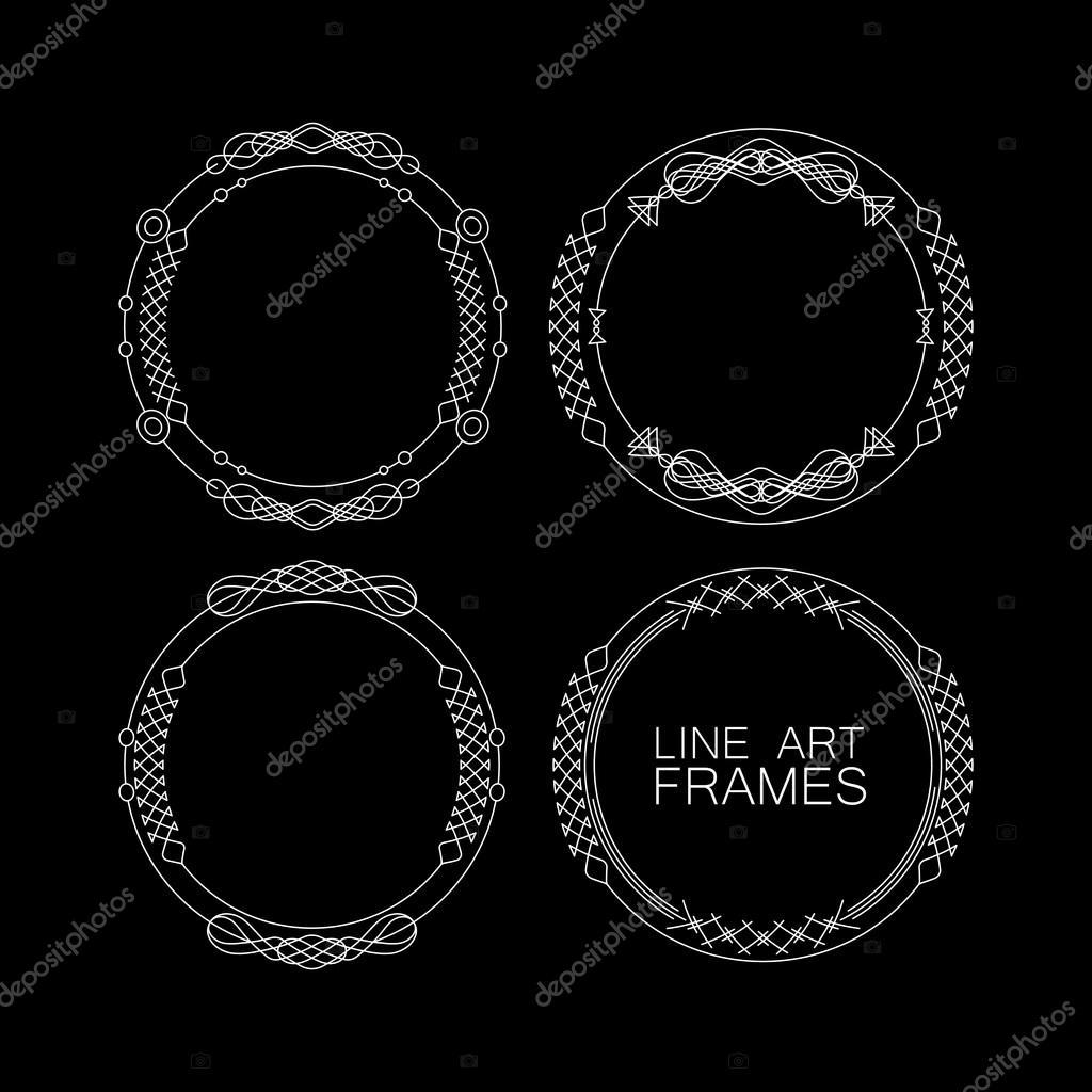 Vector de conjunto de Marcos monograma floral. elementos para el ...