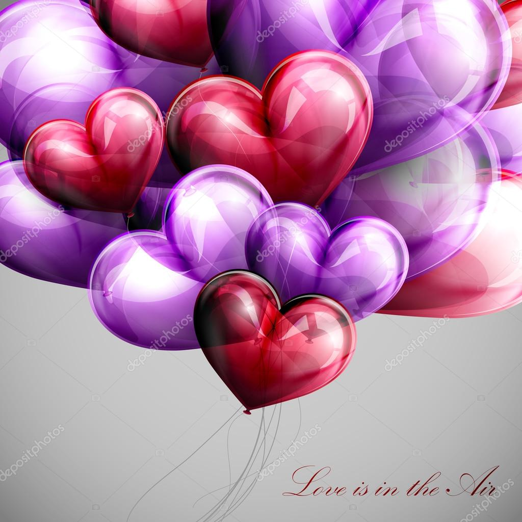 Vector holiday illustration of flying bunch of multicolored balloon hearts. Valentines Day or wedding background. Love is in the Air
