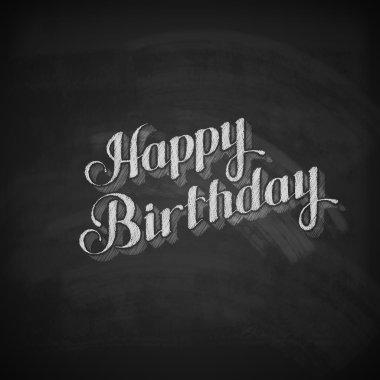 chalk illustration of Happy Birthday emblem