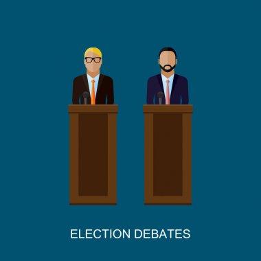 vector flat  illustration of a speakers. politicians. election debates