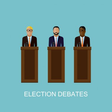 flat  illustration of a speakers. politicians. election debates