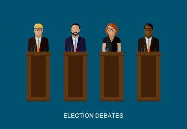 flat  illustration of a speakers. politicians. election debates