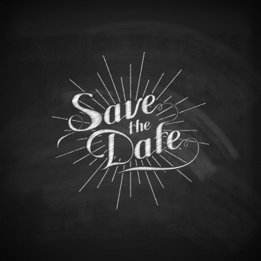 Chalk illustration of handwritten Save the Date label clip art vector
