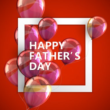 Happy Fathers Day label with white square frame and flying ballo