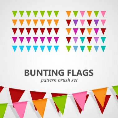 illustration of bunting flags pattern brush set