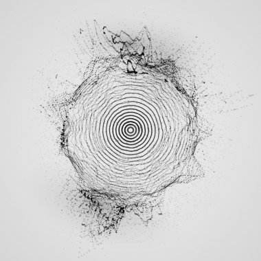 3D shape of particles array, wireframe and splashes