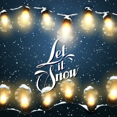 Let It Snow. Christmas Lights. Vector Holiday Illustration