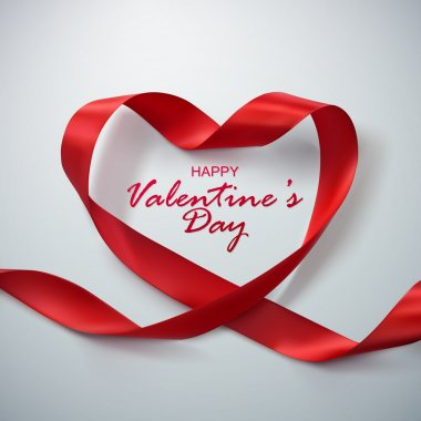 Happy Valentines Day. Red Ribbon Heart. Vector Illustration Of Looping Ribbon. clip art vector
