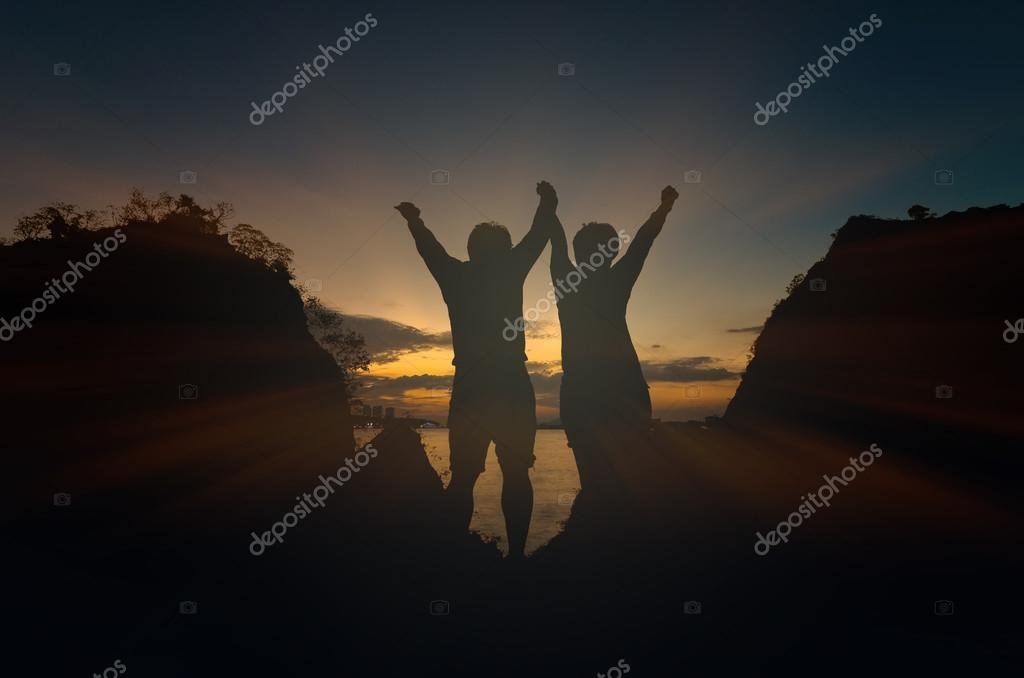 Silhouettes of happy lover