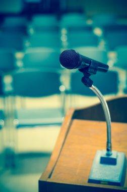 Microphone on speech podium