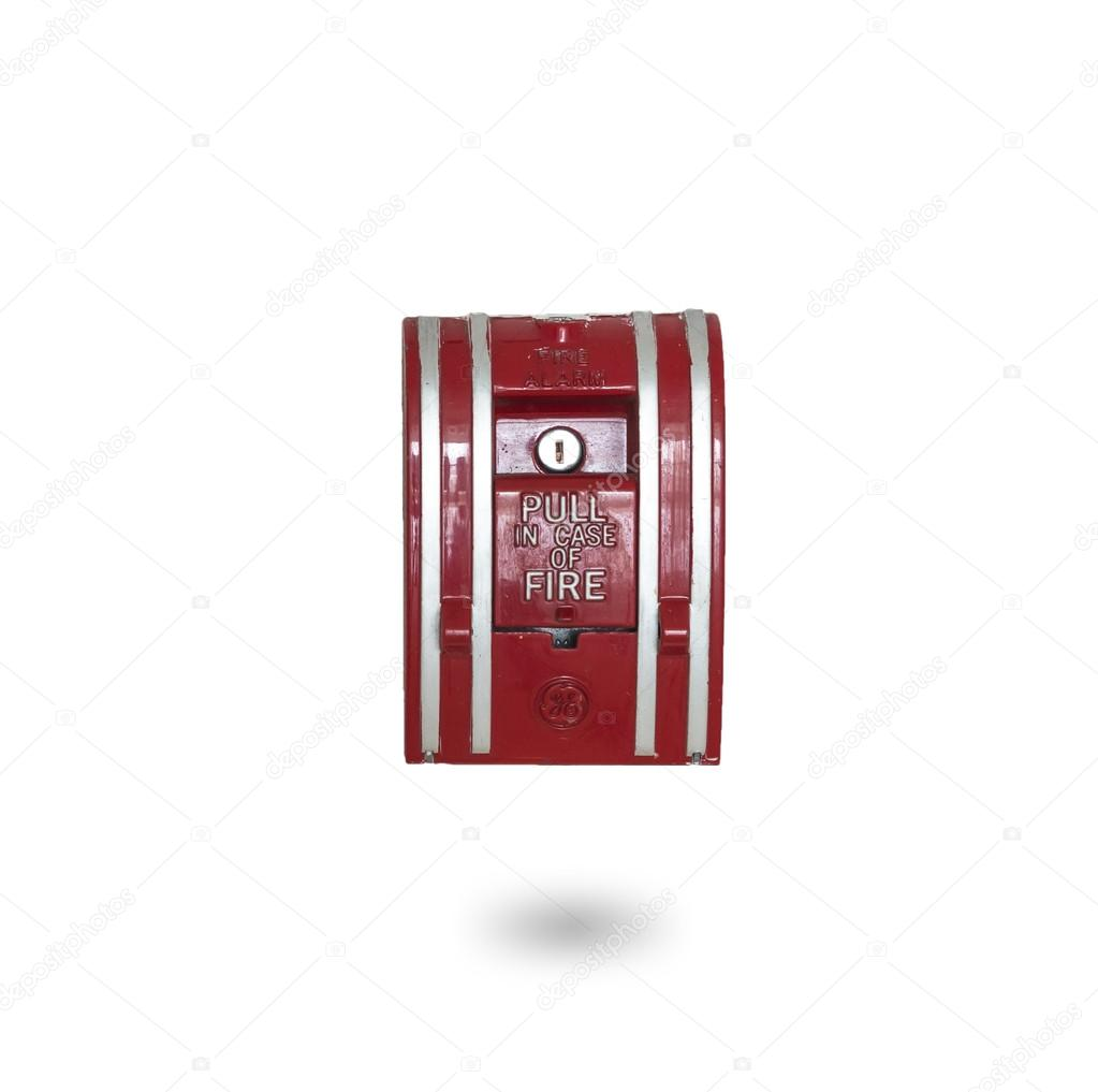 fire alarm button emergency on white background