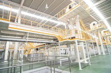 Factory equipment inside Industrial conveyor line transporting