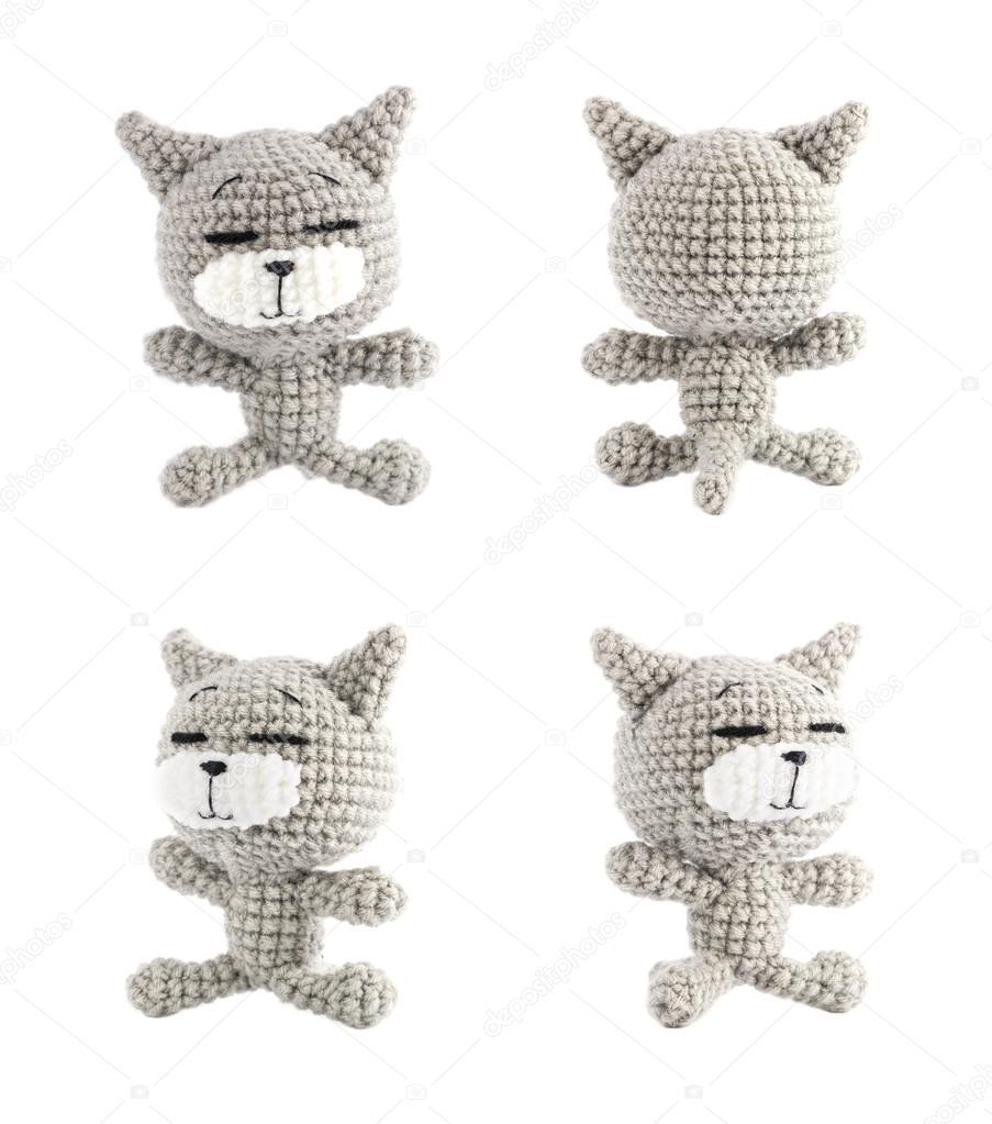 juego de muñeca de ganchillo hecho a mano gato gris sobre fondo ...