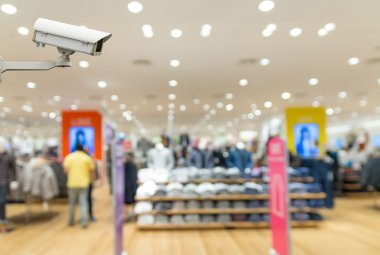 Security camera monitoring the Clothes store blur background wit