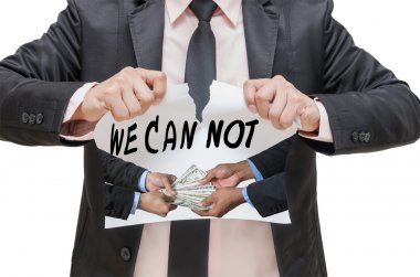 Businessman ripping up the WE CAN NOT sign with receiving the money offered between two businessman on white background