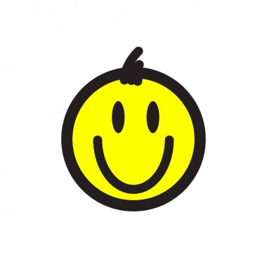 Smiley. Vector happy face with funny bangs. Cute sticker icon
