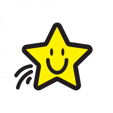 Smiley. Vector happy face. Cute flying yellow star icon