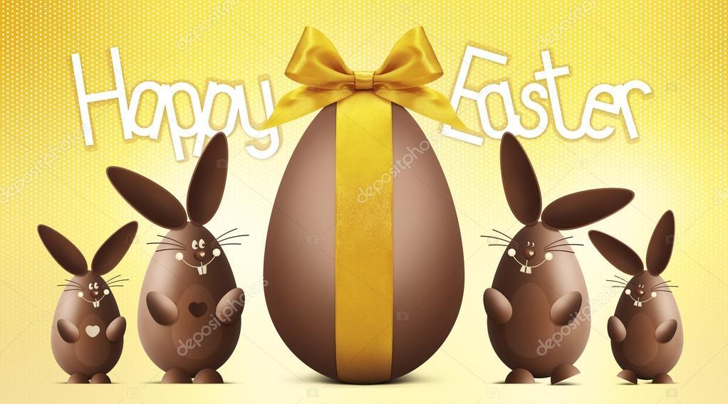Testo felice di pasqua con l uovo di cioccolato e coniglietti su