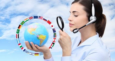 concept search, woman with headset, globe, flags and magnifying glass