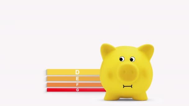 Energiesparkonzept, Hausdiagramm mit Sparschwein, zertifizierte Sparklasse. Klassifizierung von Eigenheimen. Alpha-matt.