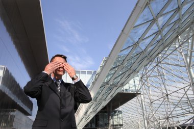 business man does not want to see, three monkeys concept