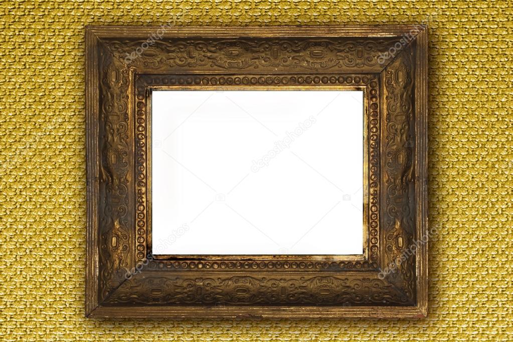 Klassische alte hölzerne Bilderrahmen geschnitzt von Hand auf gold ...