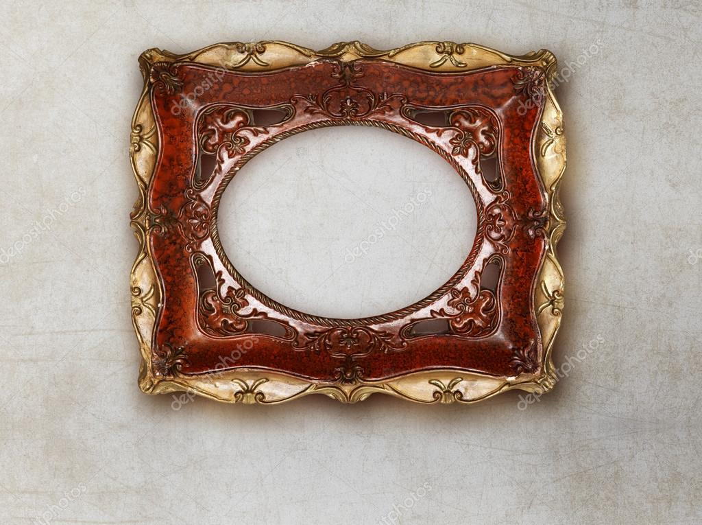 Antikes Bild Rahmen handgemachte Keramik isoliert auf Marmor ...