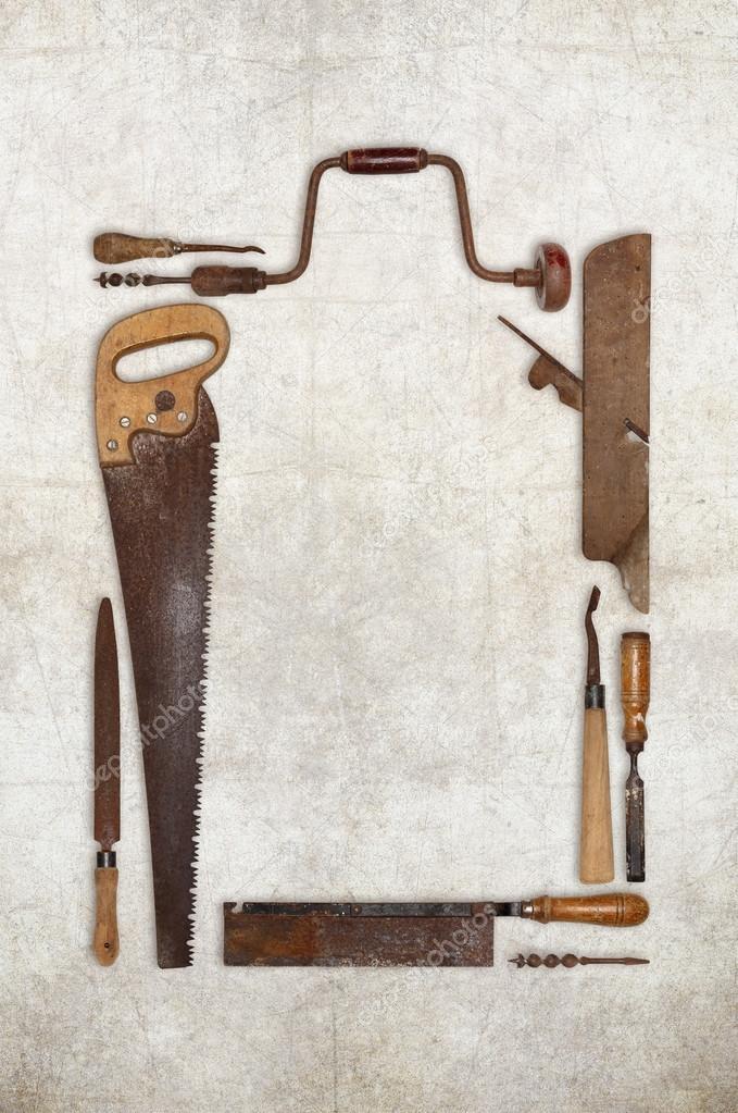 Carpintero de madera herramientas trabajo collage formando un marco ...
