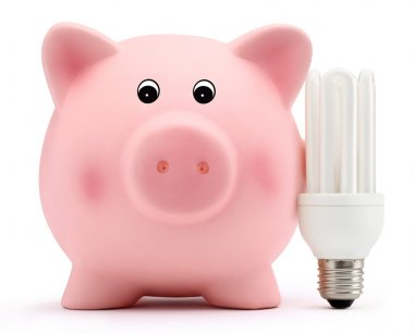 Piggy bank with energy saving lamp on white background
