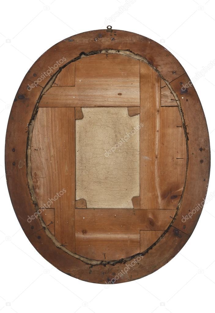 La parte posterior del antiguo marco de madera en blanco — Fotos de ...