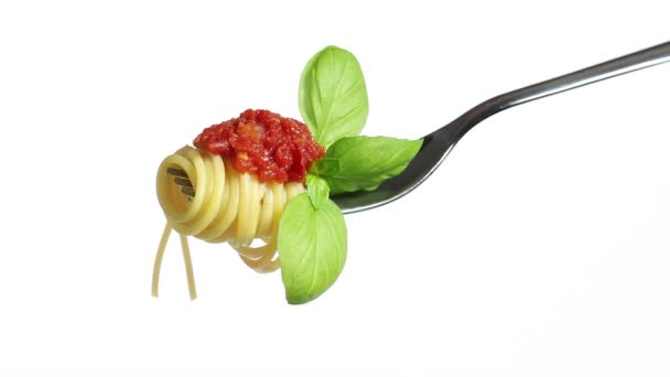 Spaghetti pasta fork with tomato basil Parmesan and olive oil, isolated on white background