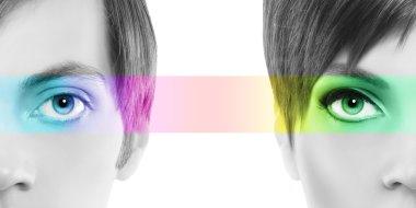 oculistic concept, portrait half woman half man, eyes colorful r