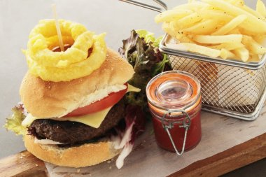 burger plated meal