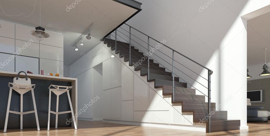 Keuken Met Trap : Keuken met moderne trap u2014 stockfoto © stanslavov1 #77499166