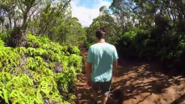 Mladý muž, pěší podél polní cesta vedoucí koryta svěží džungle v horách Havaj