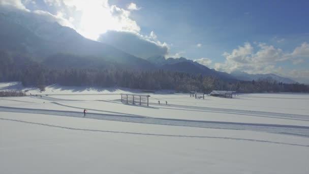 Cross country skiing on snowy fields