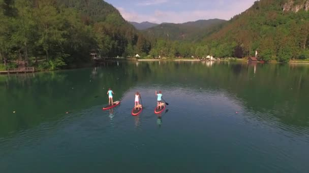 AERIAL: Flying around young surfer women SUPing on the beautiful Bled lake