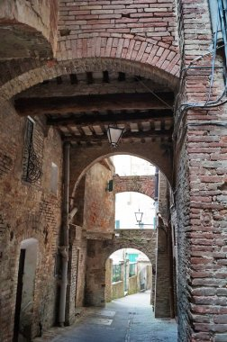 Old streets in the center of Siena, Italy
