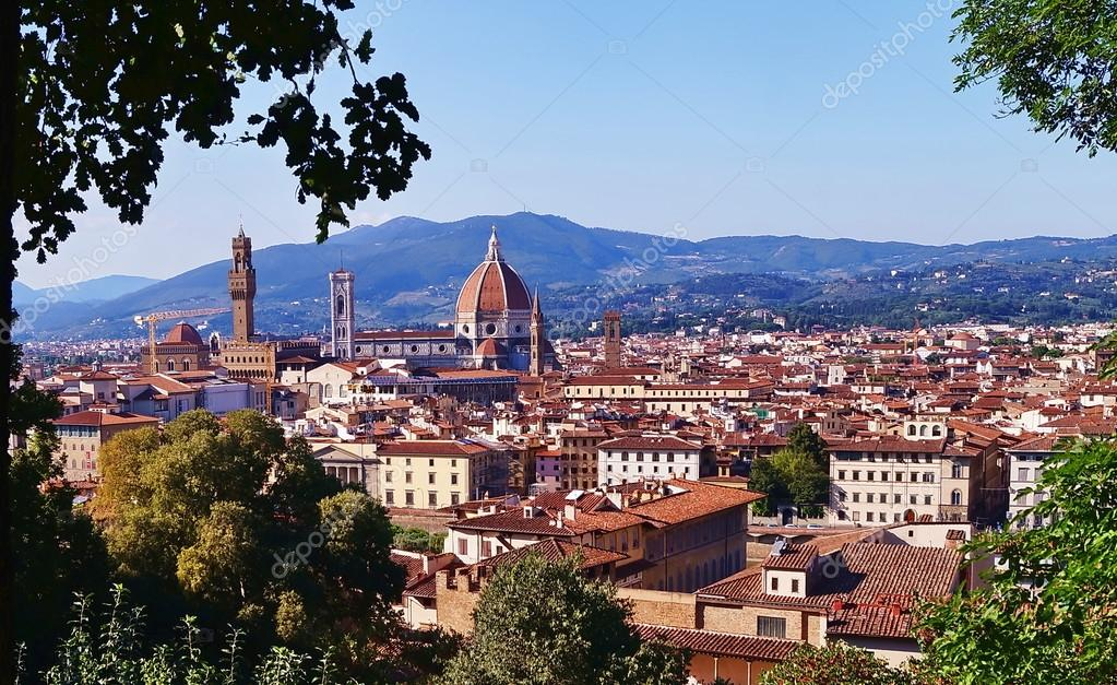 View Of Florence From Bardini Garden Tuscany Italy Stock