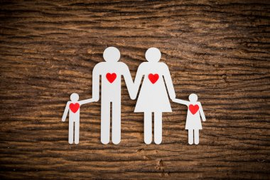 paper chain family and red heart symbolizing