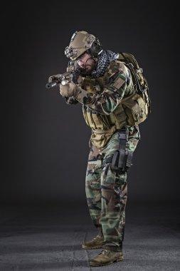 US Army Soldier on Dark Background