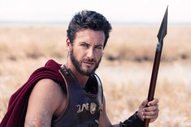 Handsome ancient warrior in armor