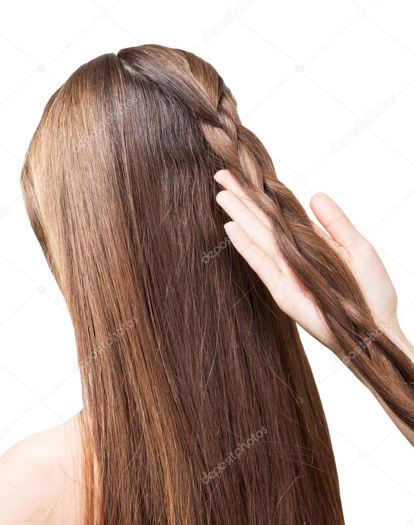 Barbier Mädchen Zöpfe Die Lange Haare Im Zopf Isoliert Stockfoto