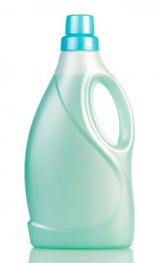 Green plastic with liquid detergent bottle isolated on white .