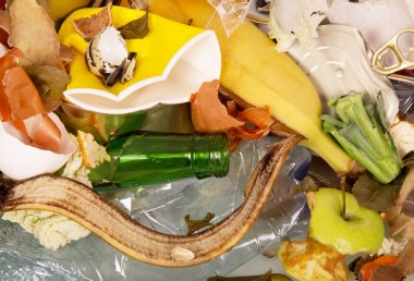 Pile of household and food waste. Texture.