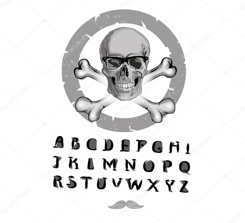 Mit illustrierten Piraten Schädel. Alles Hand gezeichnet! Vektor ...