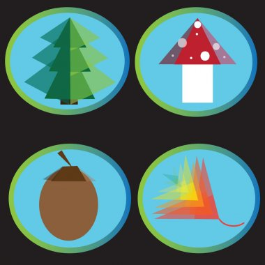 Vector set of autumn forest icons