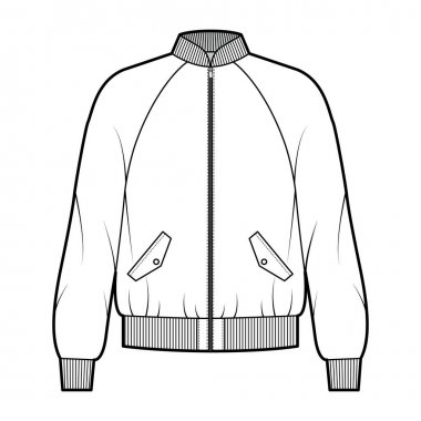 Zip-up Bomber ma-1 flight jacket technical fashion illustration with Rib baseball collar, cuffs, long raglan sleeves